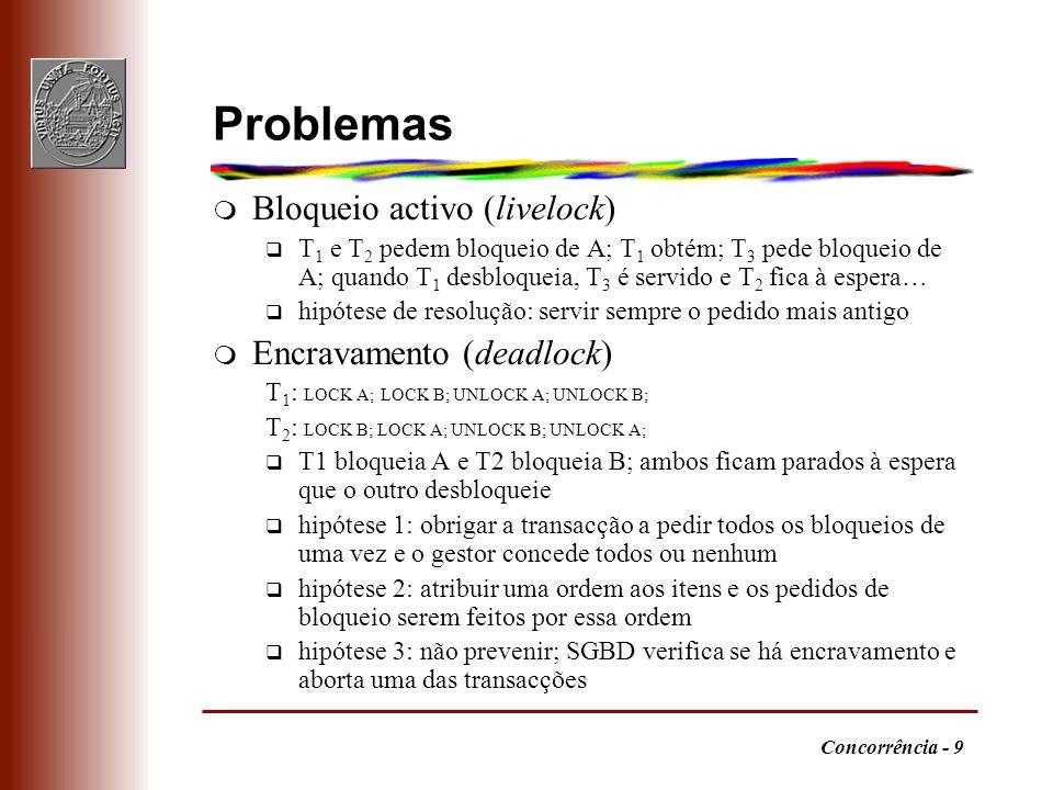 Problemas Bloqueio activo (livelock) Encravamento (deadlock)