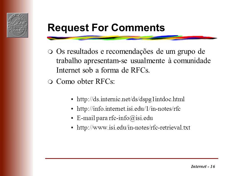 Request For CommentsOs resultados e recomendações de um grupo de trabalho apresentam-se usualmente à comunidade Internet sob a forma de RFCs.