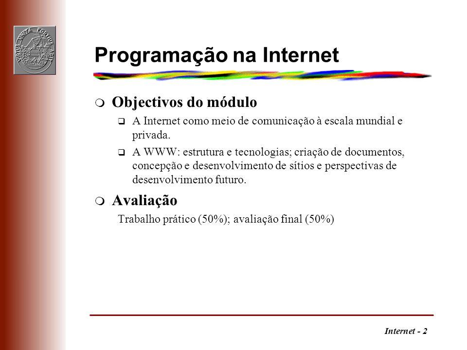 Programação na Internet