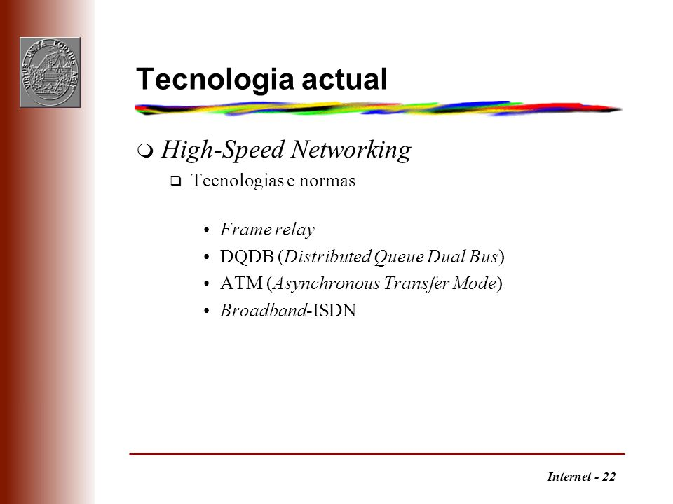 Tecnologia actual High-Speed Networking Tecnologias e normas