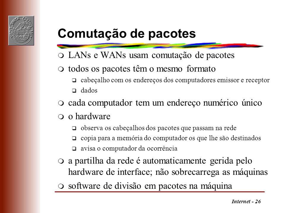 Comutação de pacotes LANs e WANs usam comutação de pacotes