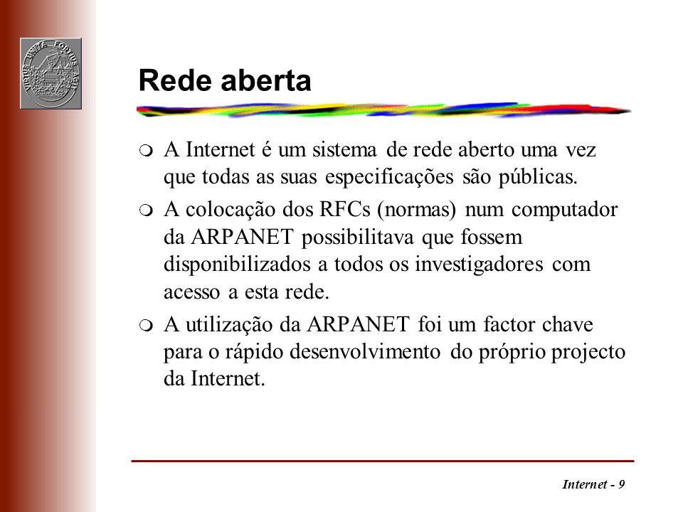 Rede aberta A Internet é um sistema de rede aberto uma vez que todas as suas especificações são públicas.