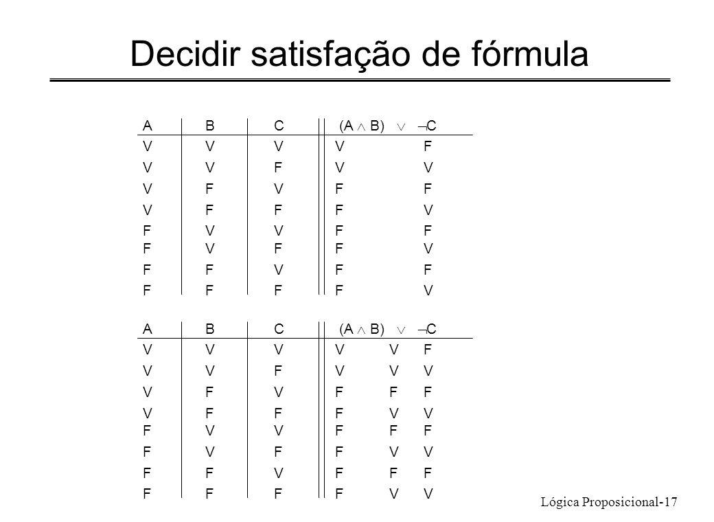 Decidir satisfação de fórmula