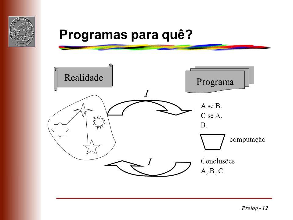 Programas para quê Realidade Programa   A se B. C se A. B.
