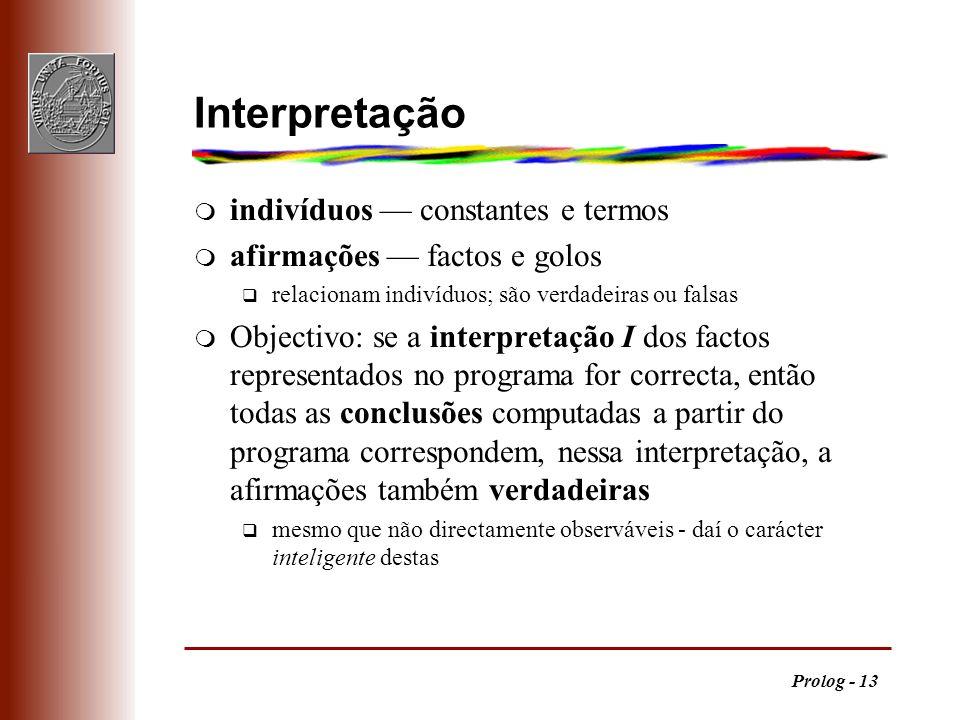 Interpretação indivíduos — constantes e termos
