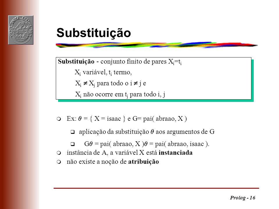 Substituição Substituição - conjunto finito de pares Xi=ti