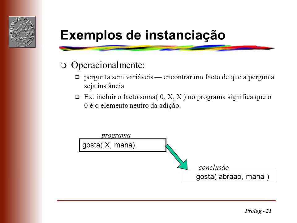 Exemplos de instanciação