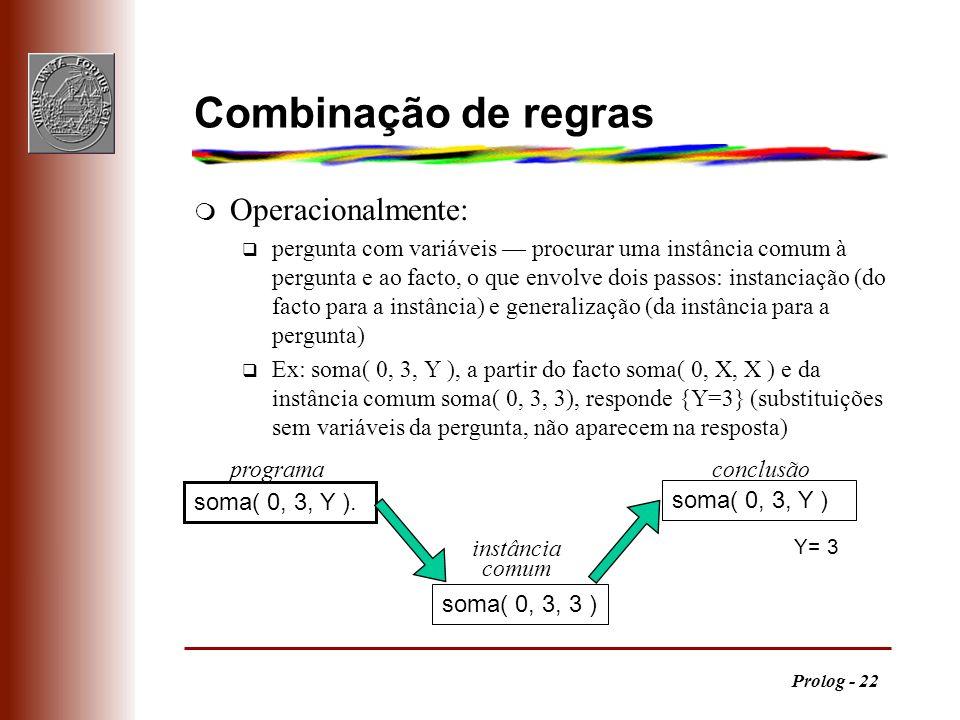 Combinação de regras Operacionalmente: