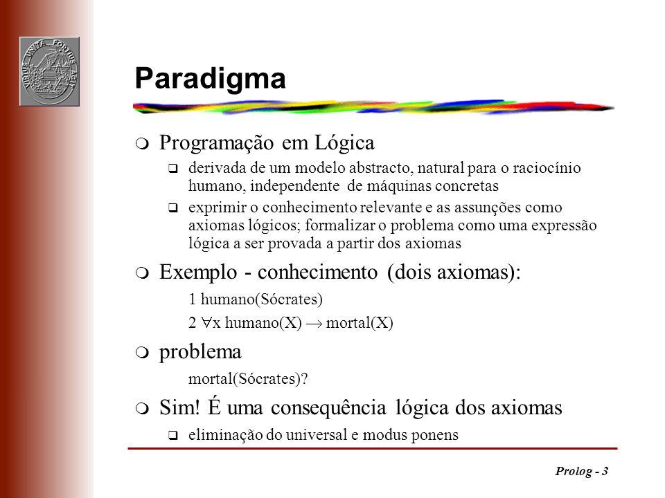 Paradigma Programação em Lógica Exemplo - conhecimento (dois axiomas):