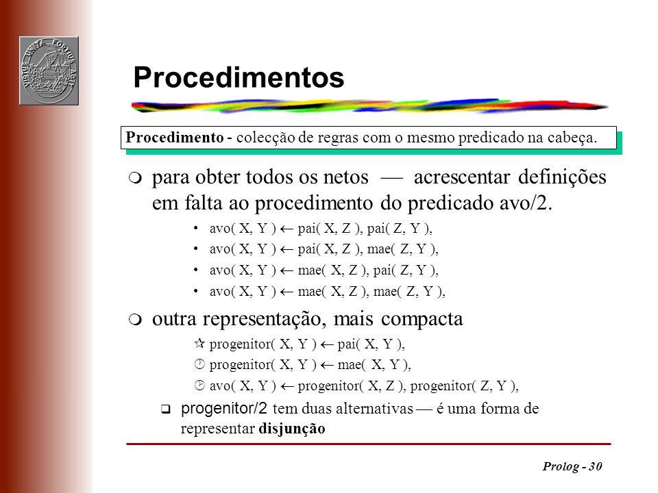 Procedimentos Procedimento - colecção de regras com o mesmo predicado na cabeça.