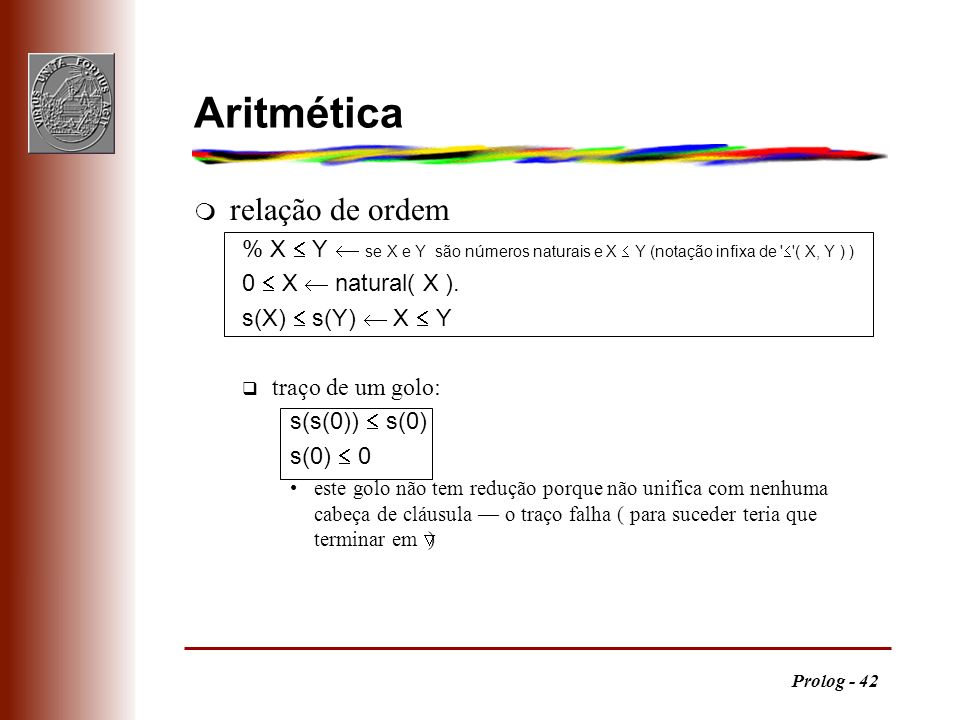 Aritmética relação de ordem