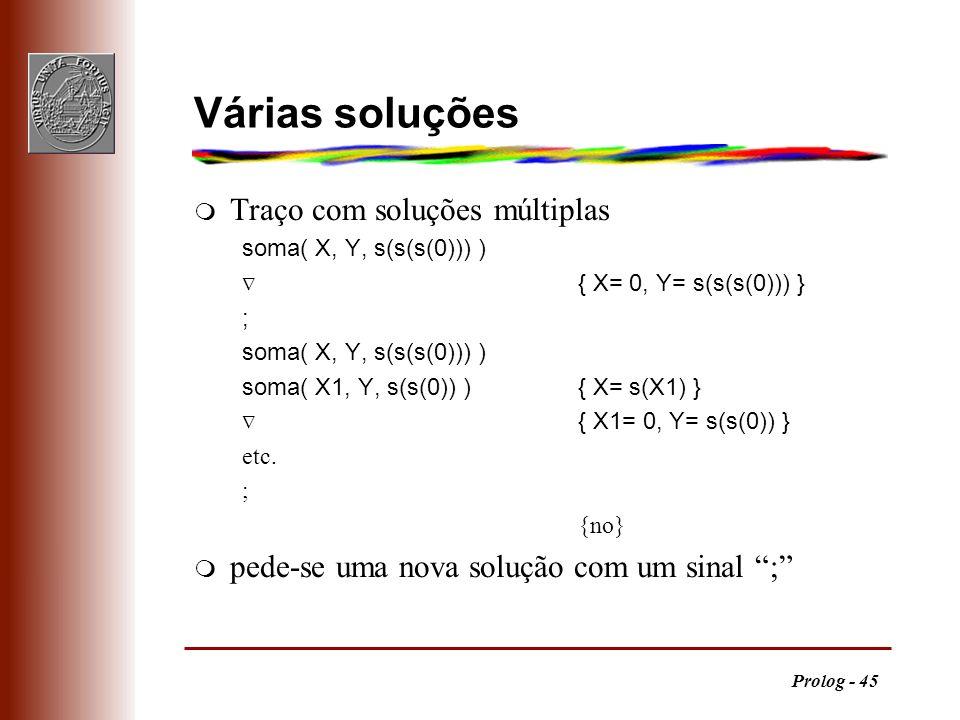 Várias soluções Traço com soluções múltiplas