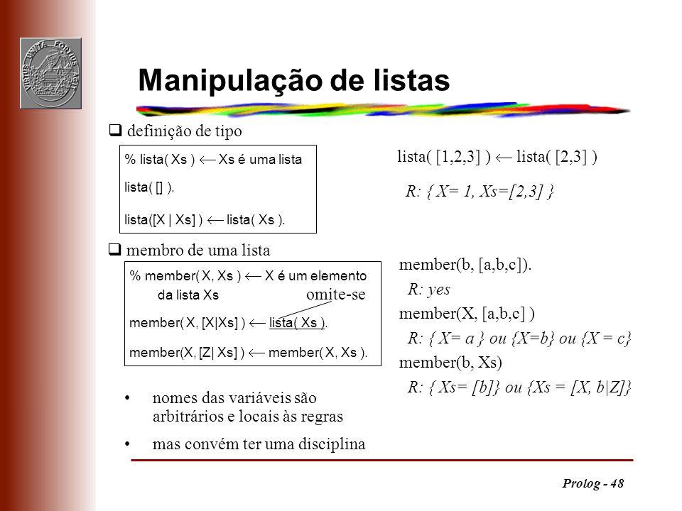 Manipulação de listas q definição de tipo