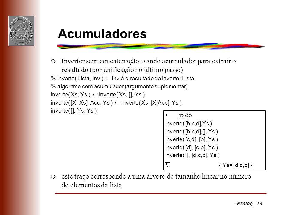 Acumuladores Inverter sem concatenação usando acumulador para extrair o resultado (por unificação no último passo)