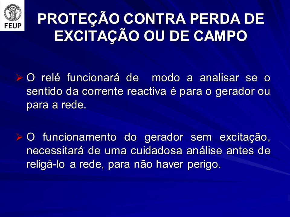 PROTEÇÃO CONTRA PERDA DE EXCITAÇÃO OU DE CAMPO