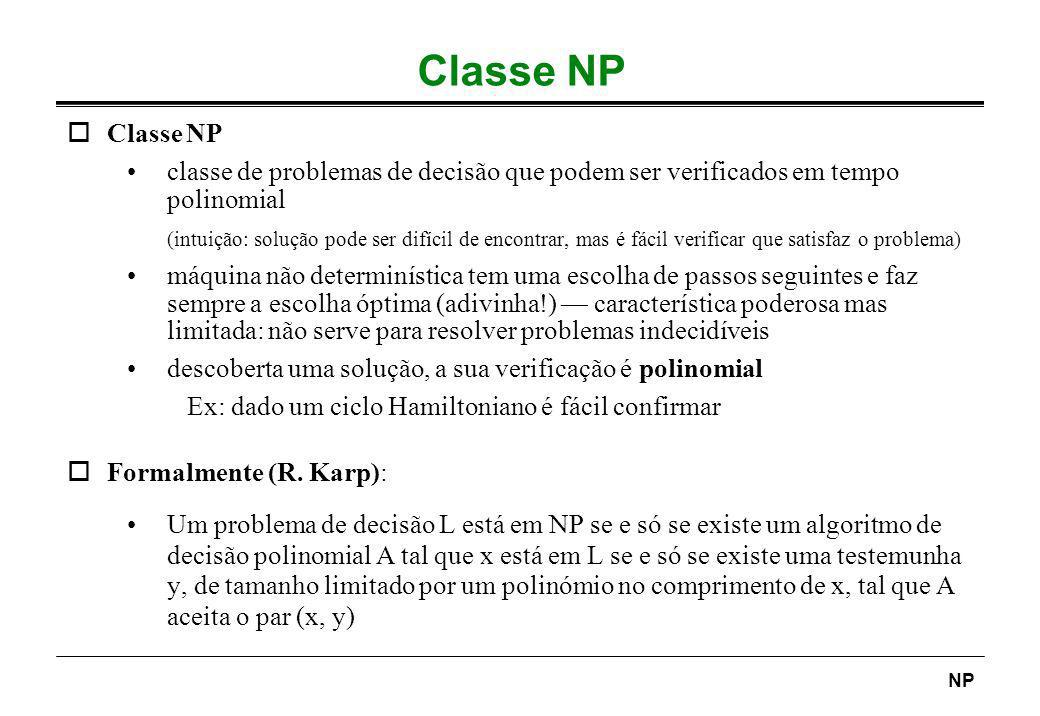 Classe NP Classe NP. classe de problemas de decisão que podem ser verificados em tempo polinomial.