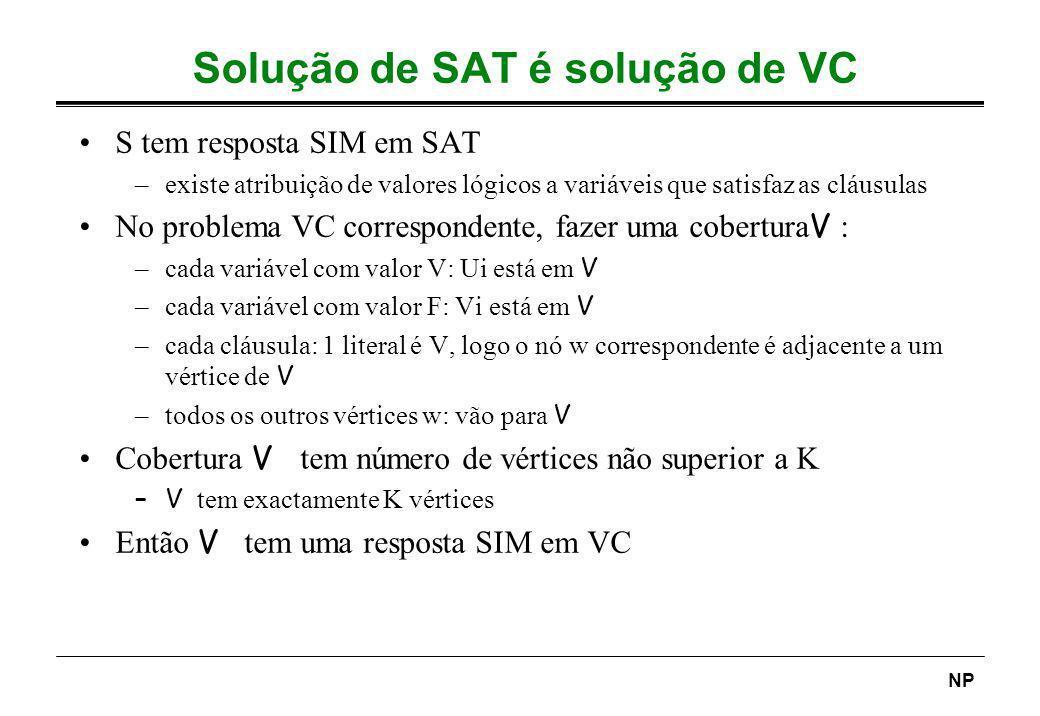 Solução de SAT é solução de VC