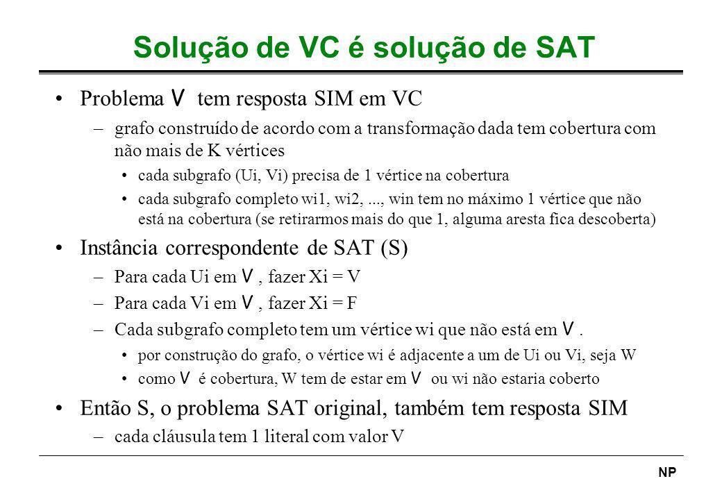 Solução de VC é solução de SAT