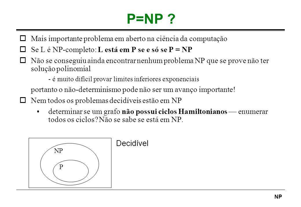 P=NP Mais importante problema em aberto na ciência da computação