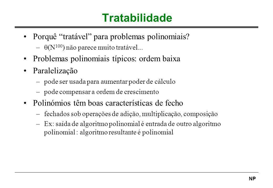 Tratabilidade Porquê tratável para problemas polinomiais