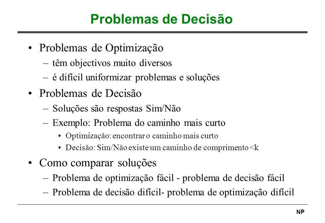 Problemas de Decisão Problemas de Optimização Problemas de Decisão