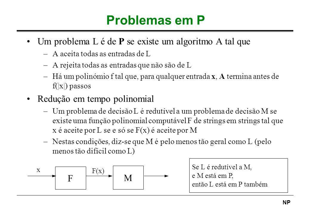 Problemas em P Um problema L é de P se existe um algoritmo A tal que