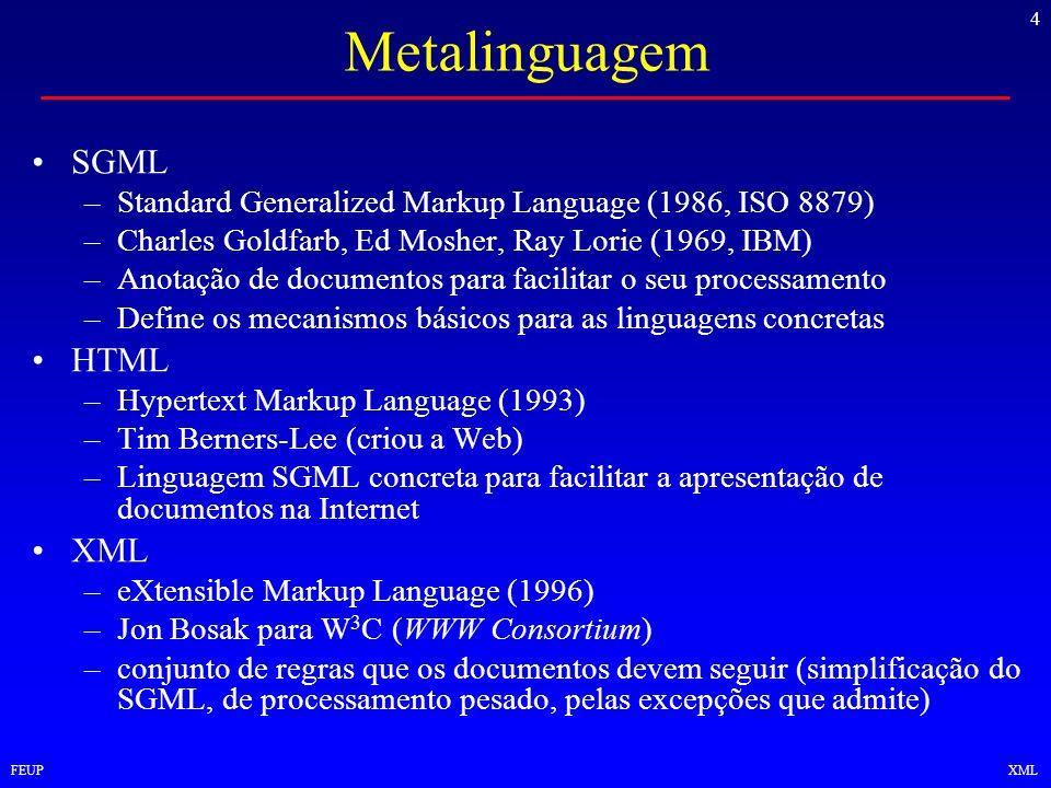 Metalinguagem SGML HTML XML
