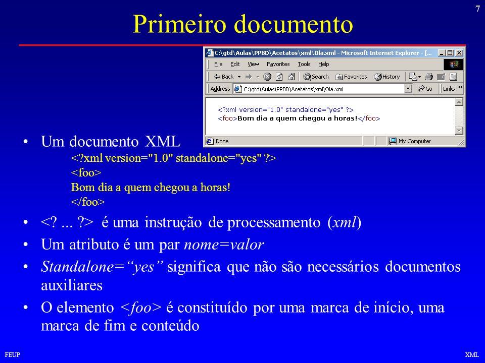 Primeiro documento Um documento XML
