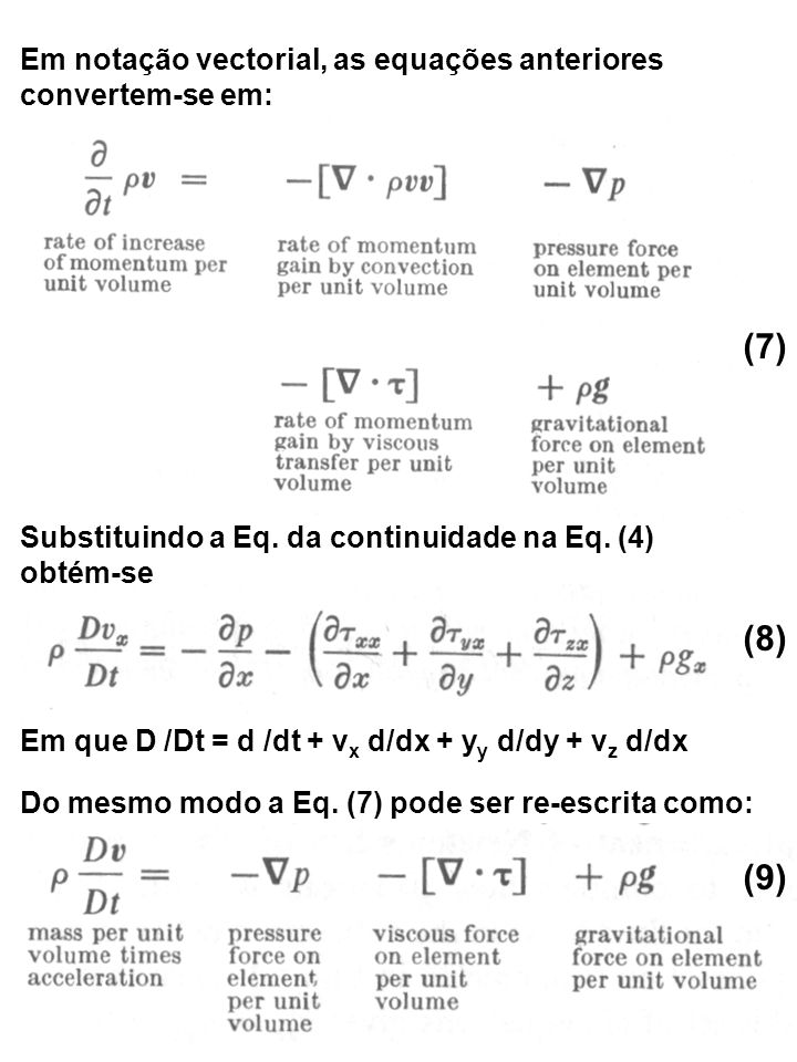 (7) (8) (9) Em notação vectorial, as equações anteriores