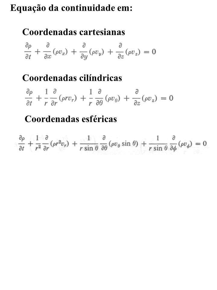 Equação da continuidade em: