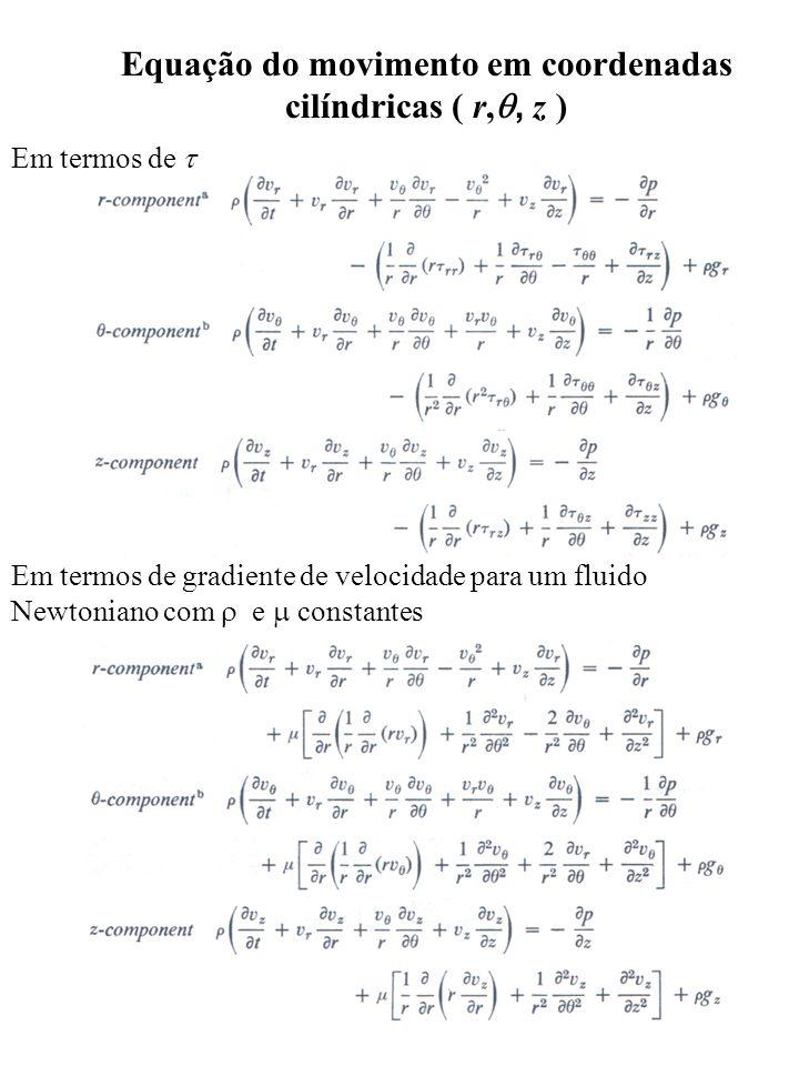 Equação do movimento em coordenadas cilíndricas ( r,, z )