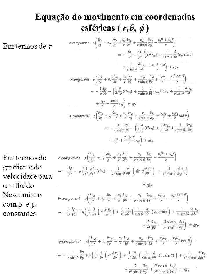 Equação do movimento em coordenadas esféricas ( r,,  )