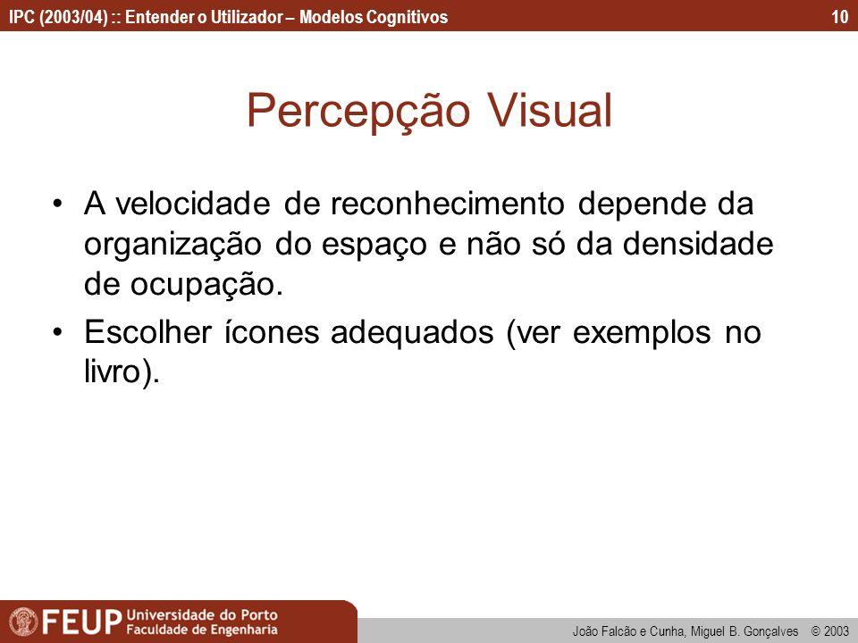 Percepção Visual A velocidade de reconhecimento depende da organização do espaço e não só da densidade de ocupação.