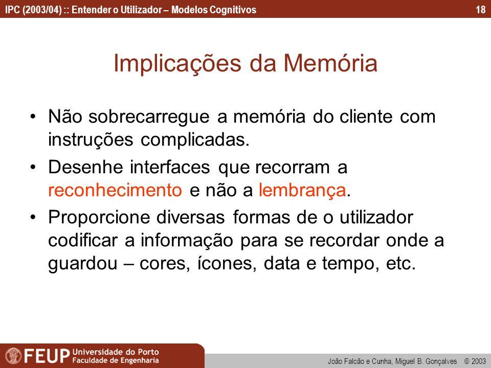 Implicações da Memória