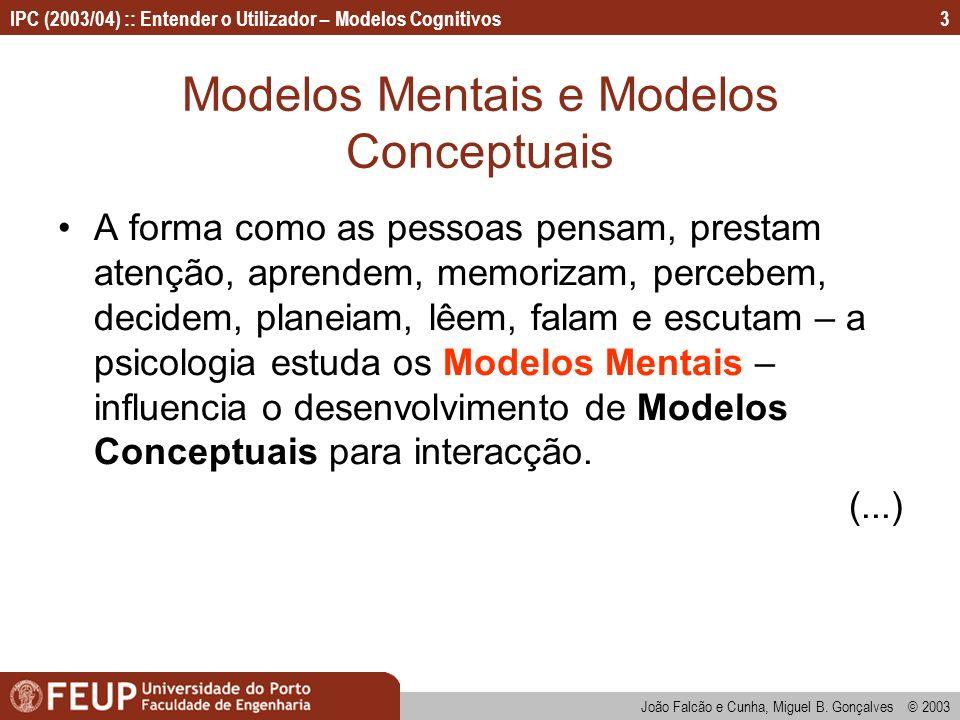 Modelos Mentais e Modelos Conceptuais