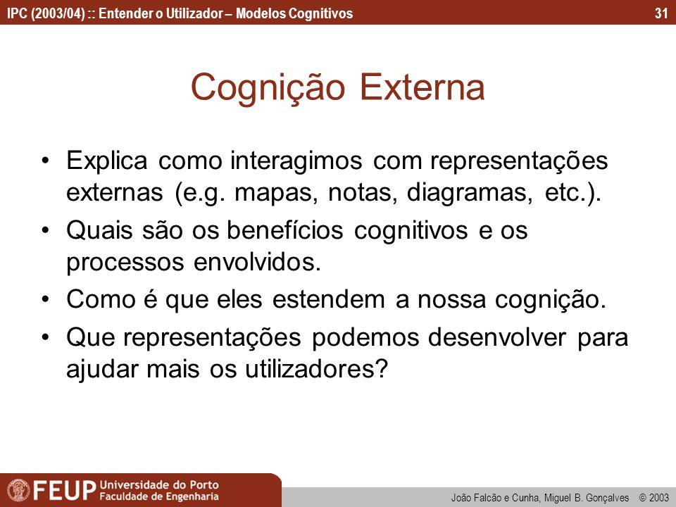 Cognição Externa Explica como interagimos com representações externas (e.g. mapas, notas, diagramas, etc.).