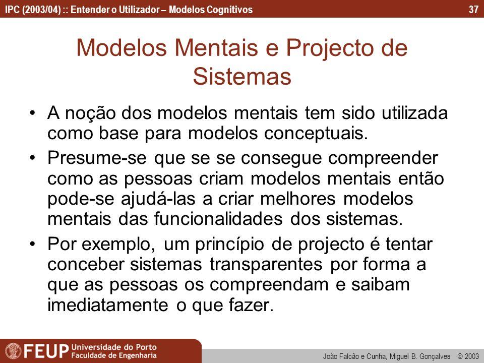 Modelos Mentais e Projecto de Sistemas