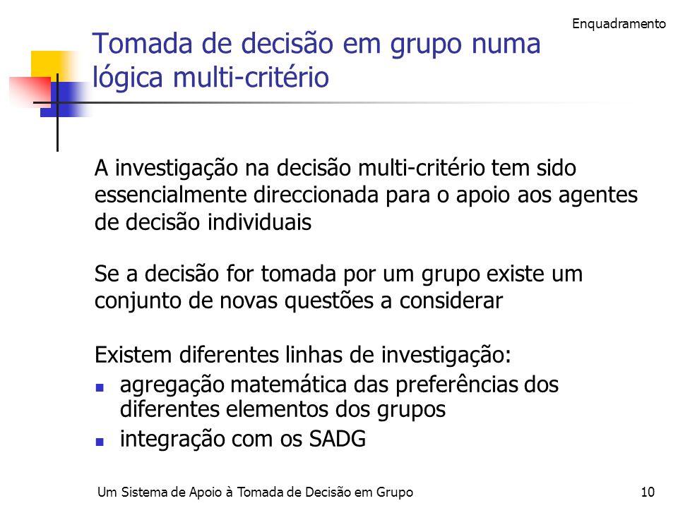 Tomada de decisão em grupo numa lógica multi-critério