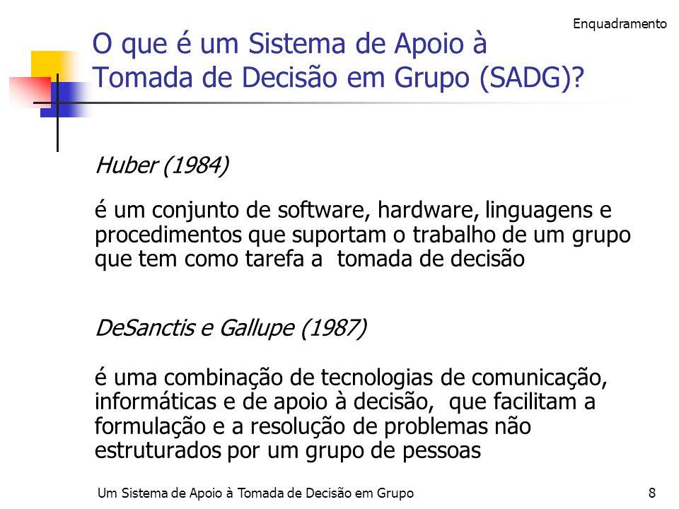 O que é um Sistema de Apoio à Tomada de Decisão em Grupo (SADG)