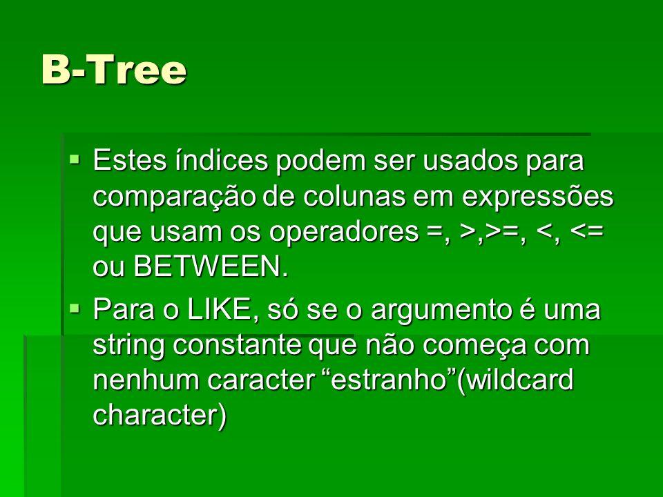 B-Tree Estes índices podem ser usados para comparação de colunas em expressões que usam os operadores =, >,>=, <, <= ou BETWEEN.