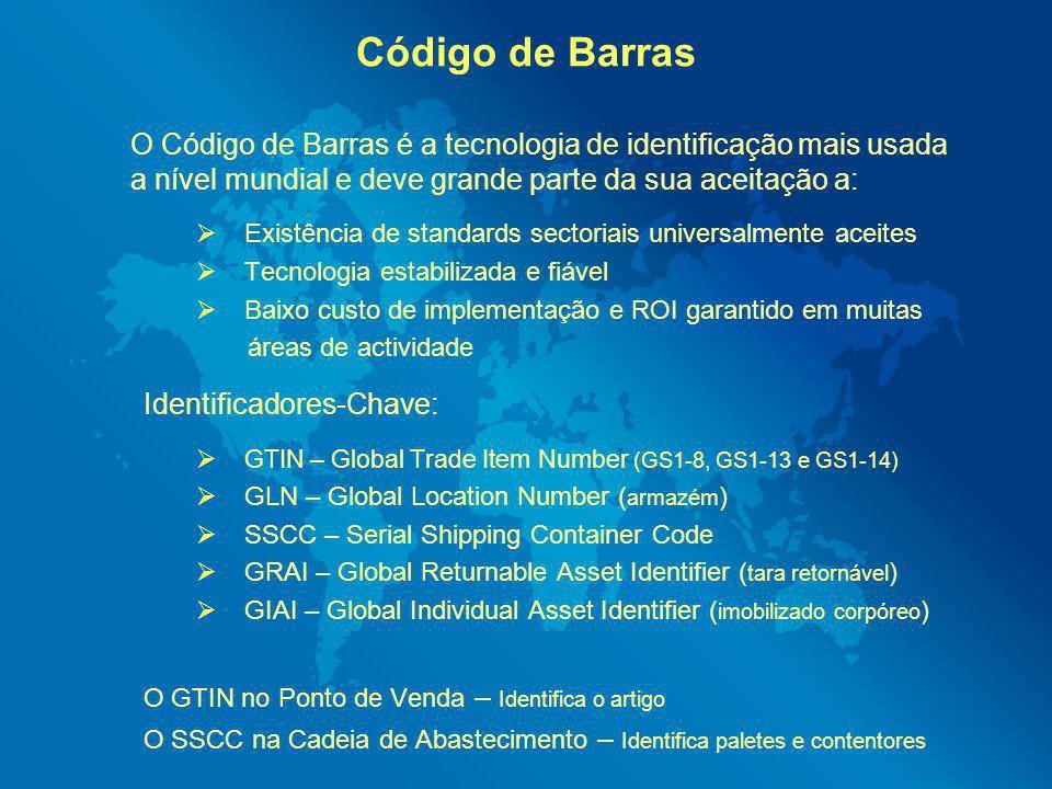 Código de Barras O Código de Barras é a tecnologia de identificação mais usada a nível mundial e deve grande parte da sua aceitação a: