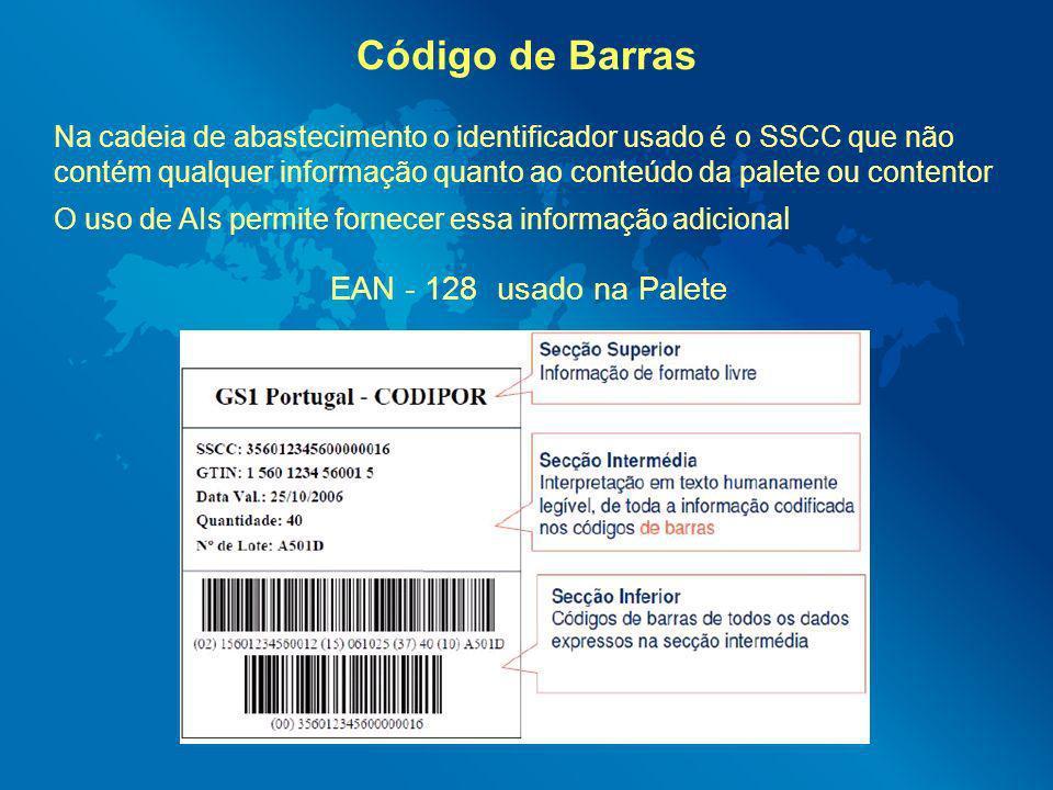 Código de Barras EAN - 128 usado na Palete