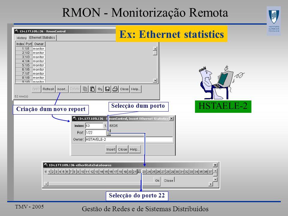 Ex: Ethernet statistics Criação dum novo report
