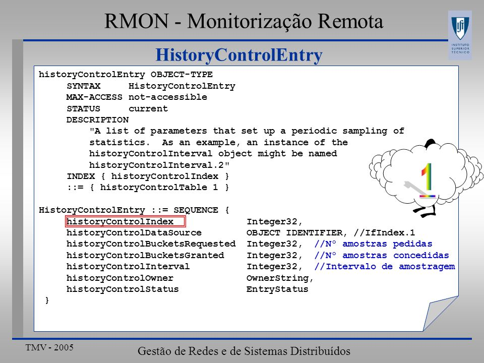 1 RMON - Monitorização Remota HistoryControlEntry