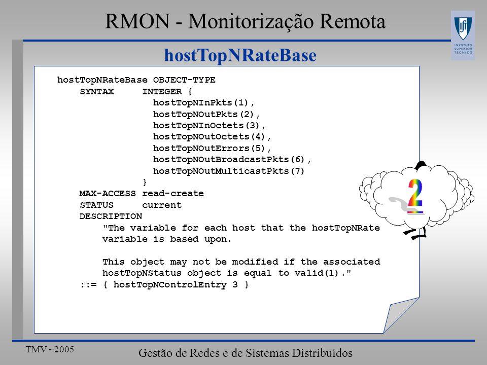 2 RMON - Monitorização Remota hostTopNRateBase