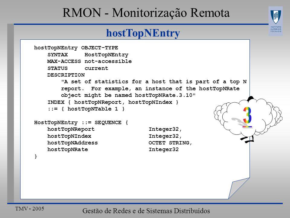 3 RMON - Monitorização Remota hostTopNEntry