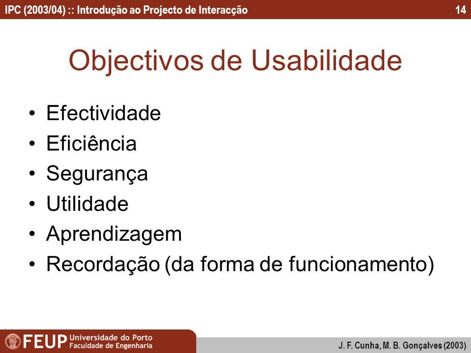 Objectivos de Usabilidade