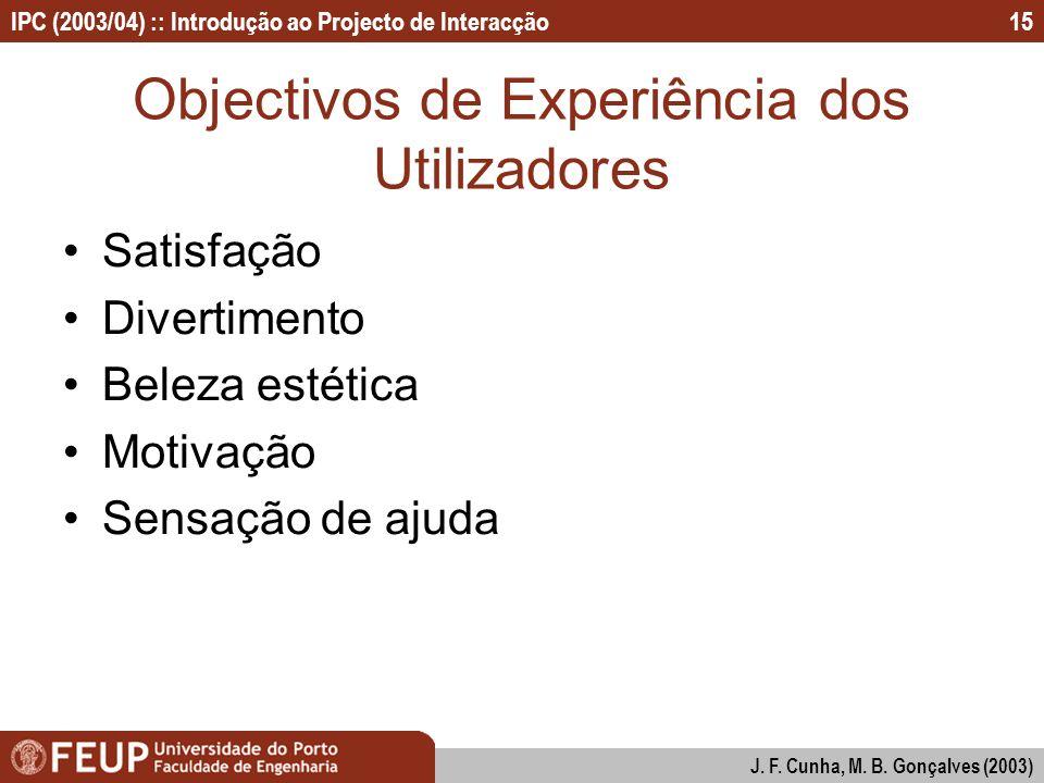 Objectivos de Experiência dos Utilizadores