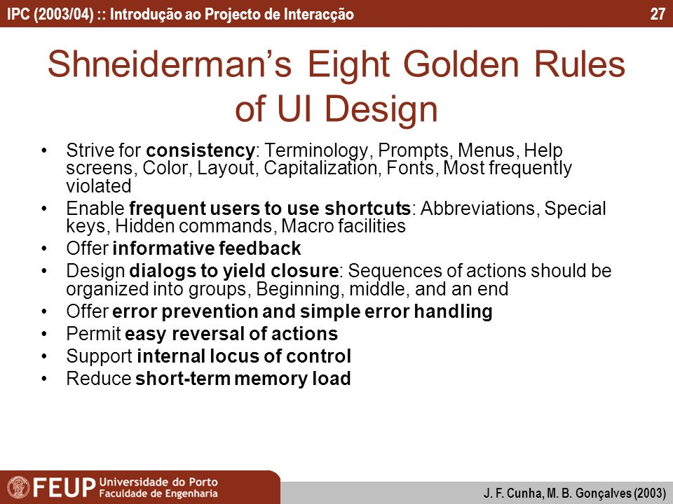 Shneiderman's Eight Golden Rules of UI Design
