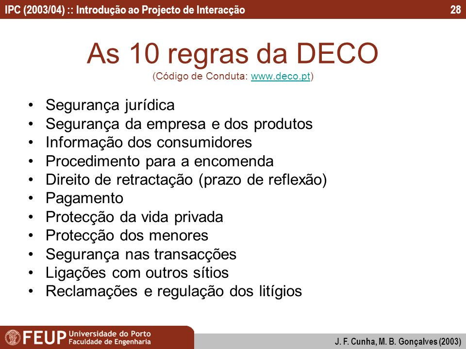 As 10 regras da DECO (Código de Conduta: www.deco.pt)